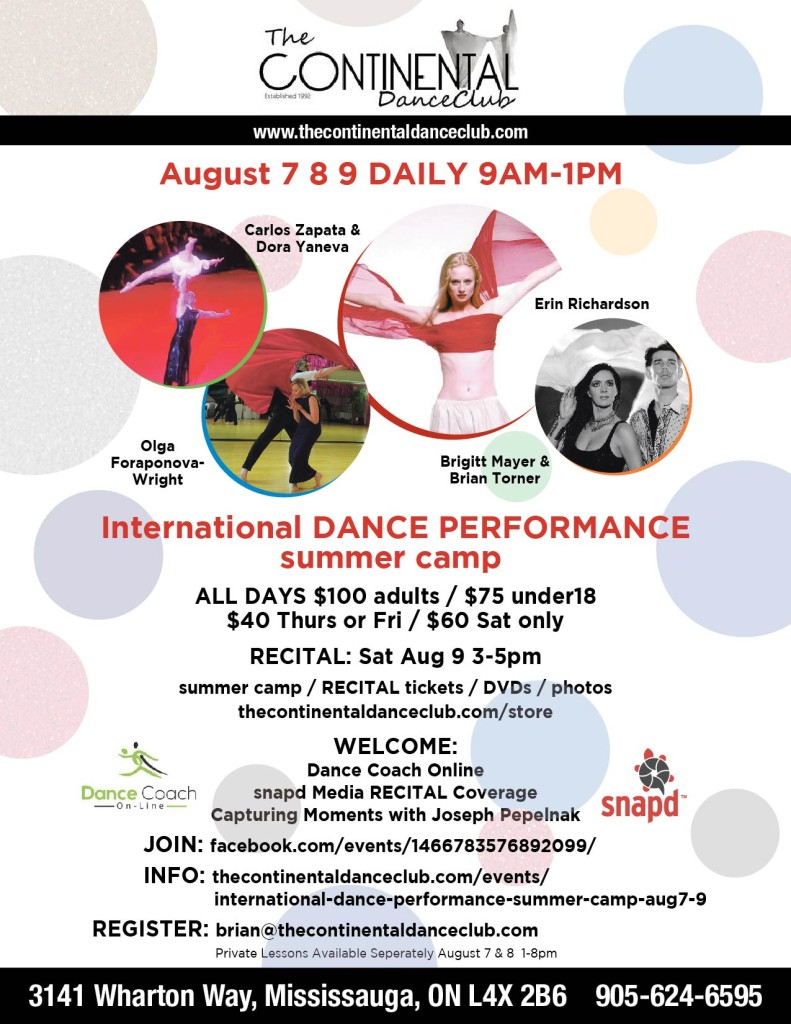 International DANCE PERFORMANCE summer camp AUGUST south Mississauga SNAPD 8.5 x 11 CanAm ADVERT and FB cover page