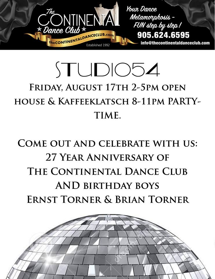 ONE DAY ONLY> The Continental Dance Club's metamorphosis into STUDIO54 OPEN HOUSE Kaffeeklatsch 2-5pm + PARTY 8-11pm FREE!