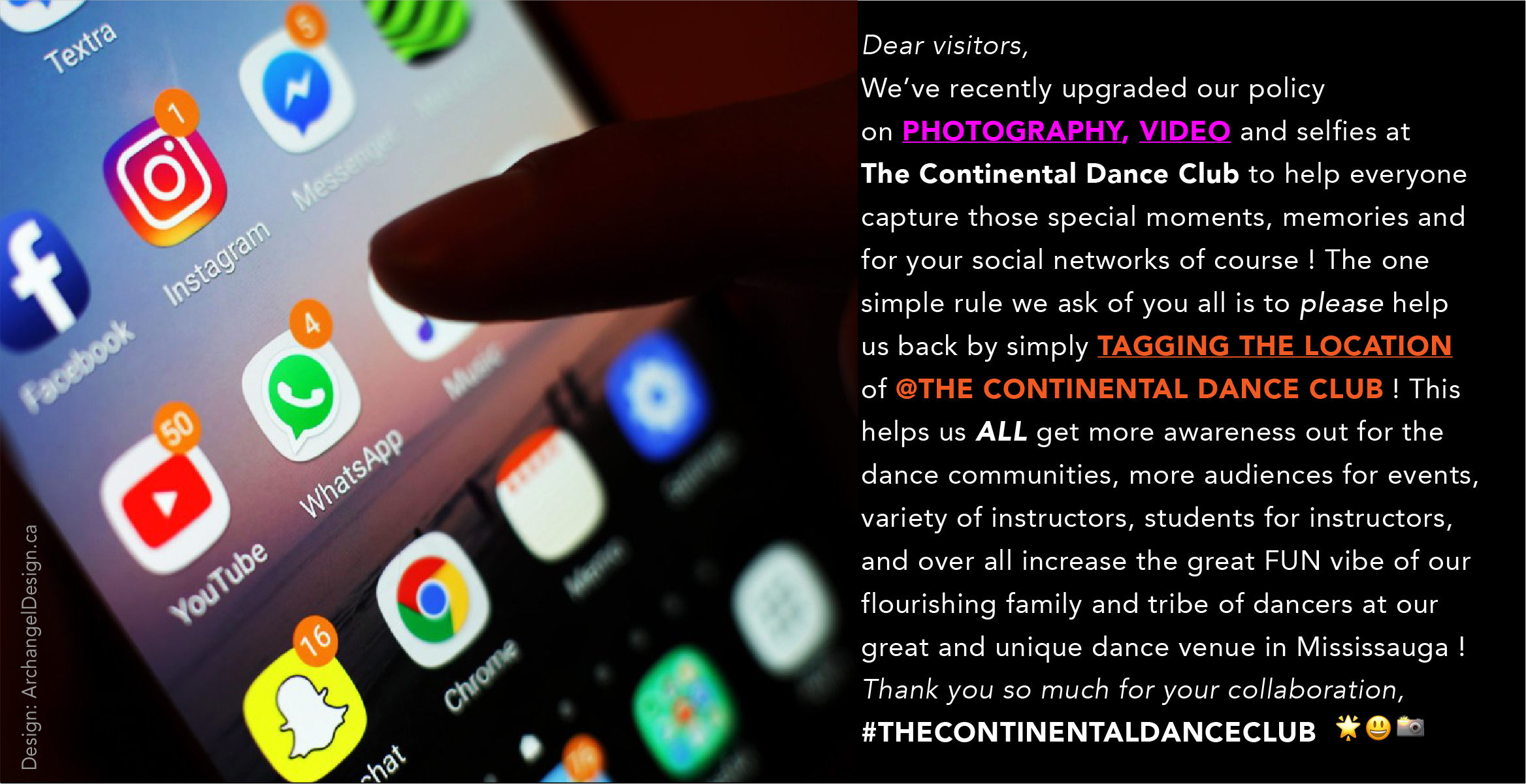 *NEW* PHOTOGRAPHY policy 2019 >>> THANK YOU for TAGging #TheContinentalDanceClub