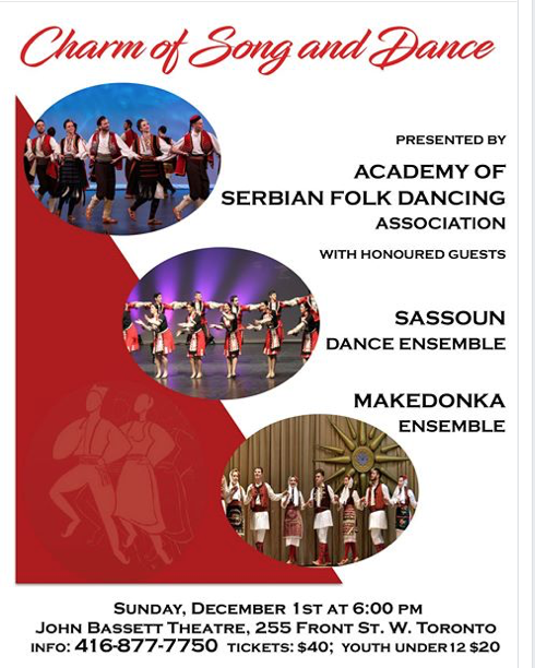 4 TICKETS AVAILABLE Academy of Serbian Folk Dancing annual concert THIS SUNDAY