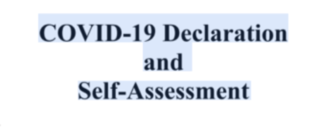 COVID-19 Declaration  and Self-Assessment